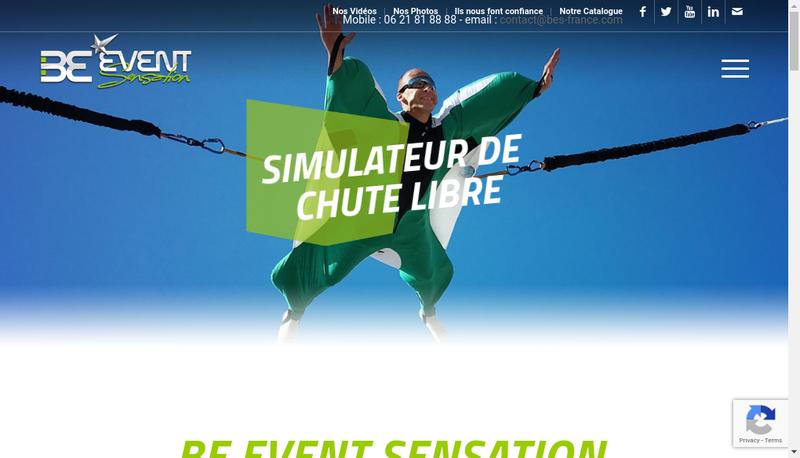 Capture d'écran du site de Be Event Sensation