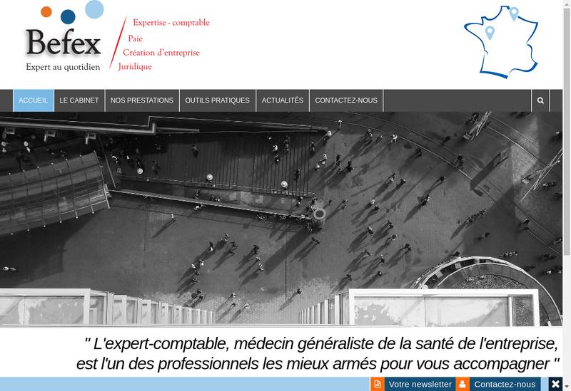 Capture d'écran du site de Befex