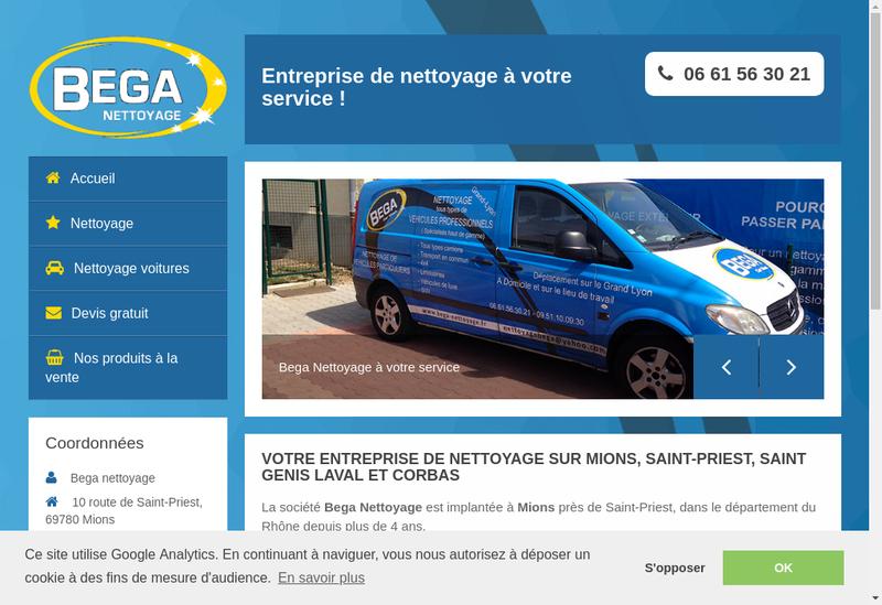 Capture d'écran du site de BEGA