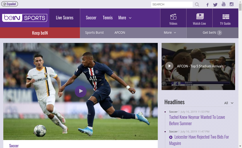 Capture d'écran du site de Bein Sports France