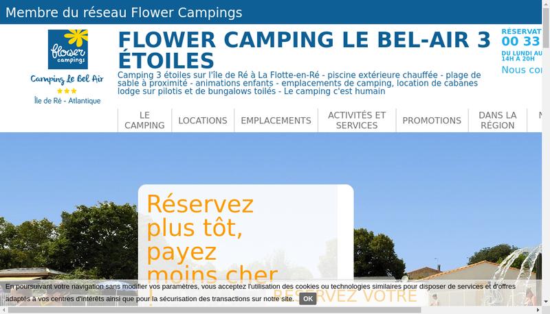Capture d'écran du site de Flower Exploitation Campings