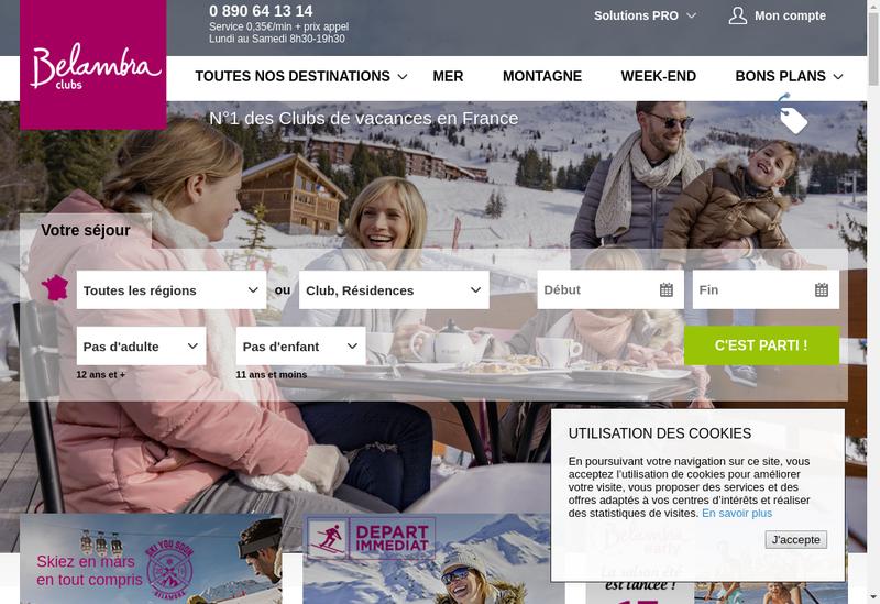 Capture d'écran du site de Belambra Clubs