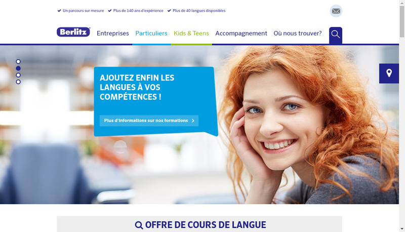 Capture d'écran du site de Berlitz France