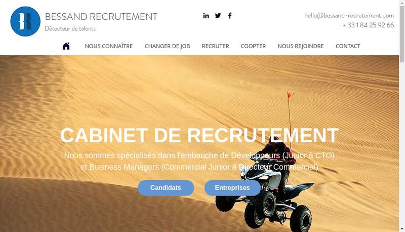Capture d'écran du site de Bessand Recrutement