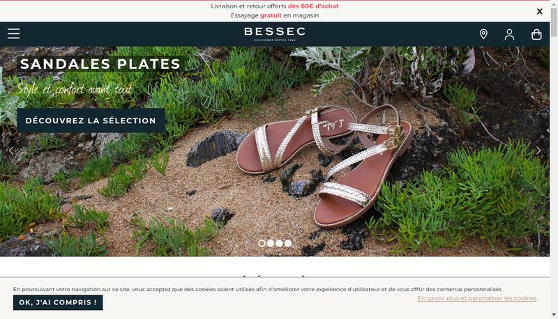 Capture d'écran du site de Bessec Chausseur