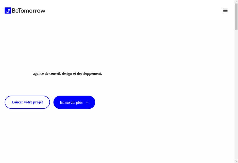 Capture d'écran du site de Betomorrow