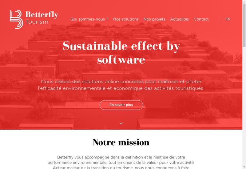 Capture d'écran du site de Betterfly Tourism