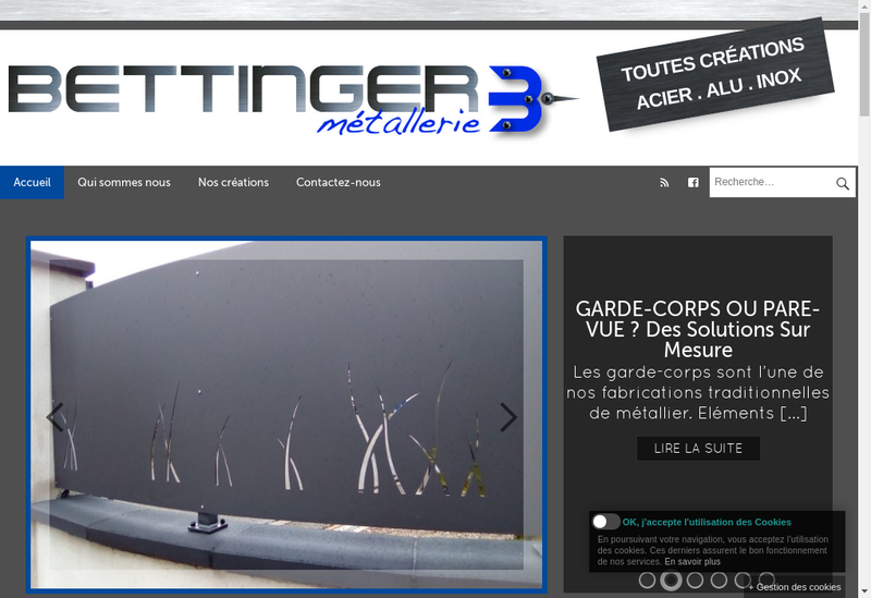 Capture d'écran du site de Metallerie Bettinger