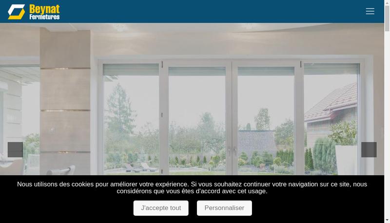 Capture d'écran du site de Beynat Fermetures