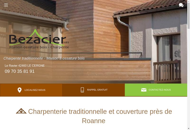 Capture d'écran du site de Bezacier