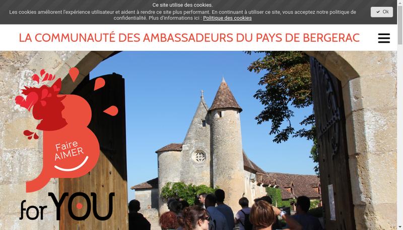 Capture d'écran du site de Office Tourisme Bergerac Sud Dordogne