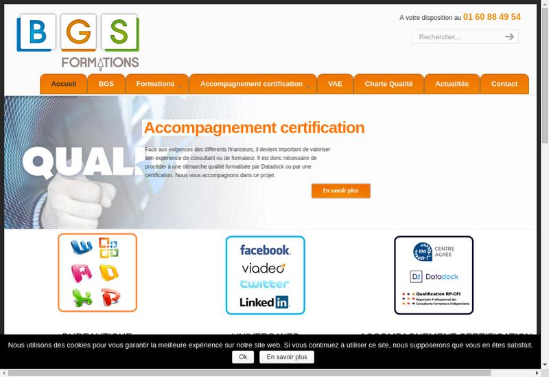 Capture d'écran du site de Bg Secretariat