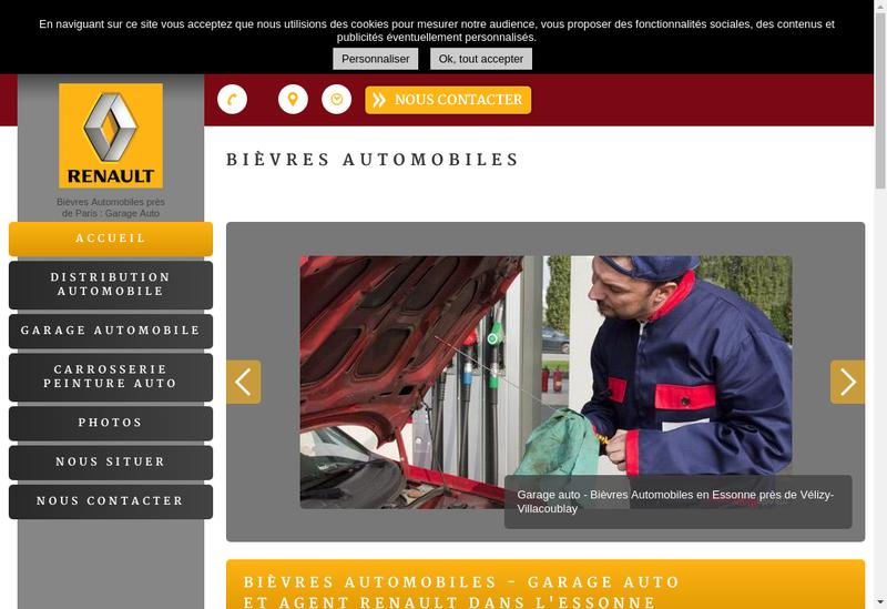 Capture d'écran du site de Bievres Automobiles