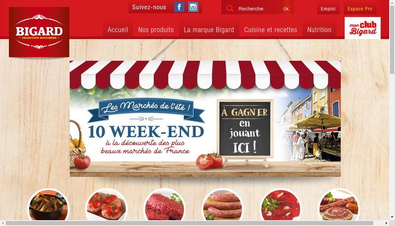 Capture d'écran du site de Groupe Bigard