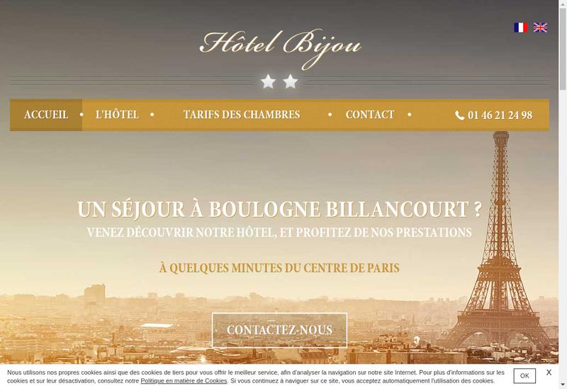 Capture d'écran du site de Hotel Bijou Boulogne Paris
