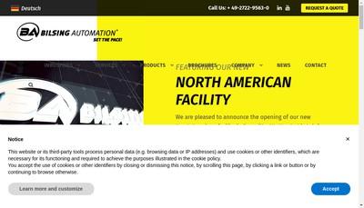 Site internet de Bilsing Automation France