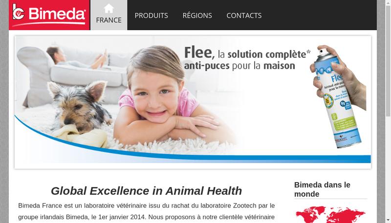 Capture d'écran du site de Bimeda Zootech
