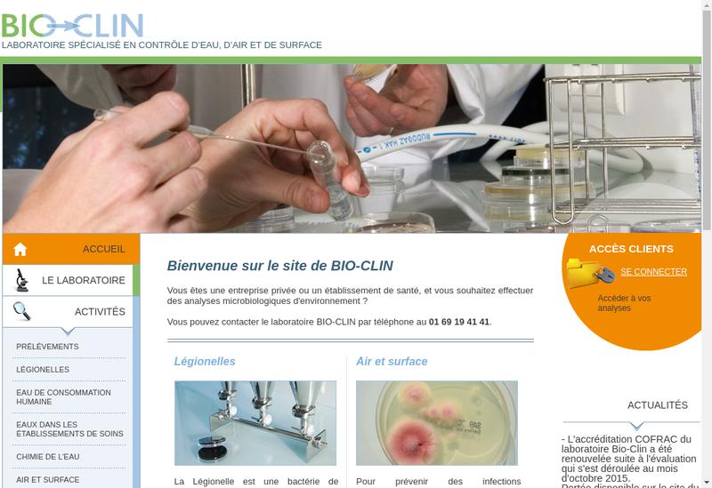 Capture d'écran du site de Bio Clin