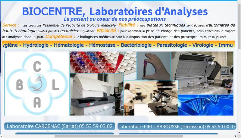 Capture d'écran du site de Biocentre Laboratoires d'Analyses
