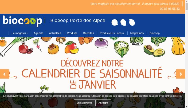 Capture d'écran du site de Biocoop Porte des Alpes