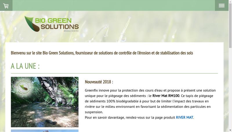 Capture d'écran du site de Bio Green Solutions