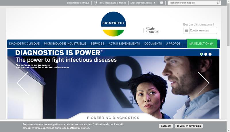 Capture d'écran du site de Biomerieux