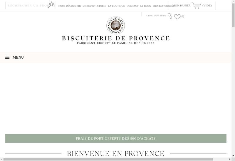 Capture d'écran du site de Biscuiterie de Provence
