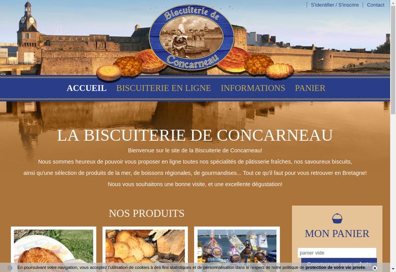 Capture d'écran du site de Biscuiterie de Concarneau
