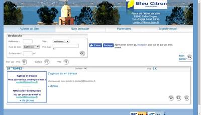 Site internet de Agence Immobiliere Bleu Citron
