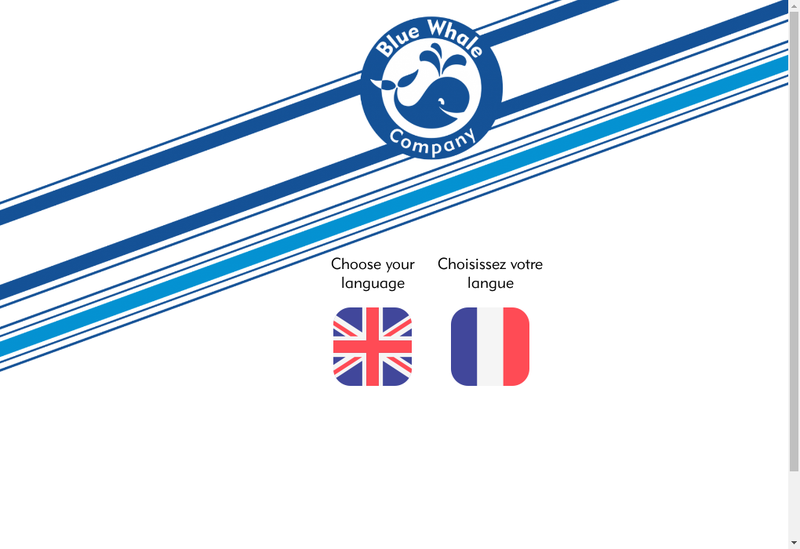 Capture d'écran du site de Blue Whale Company