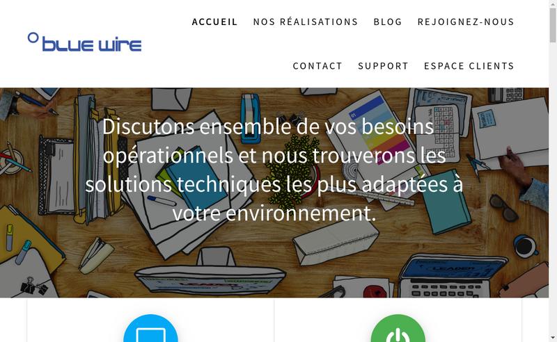 Capture d'écran du site de Blue Wire France