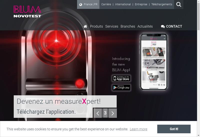 Capture d'écran du site de Blum Novotest