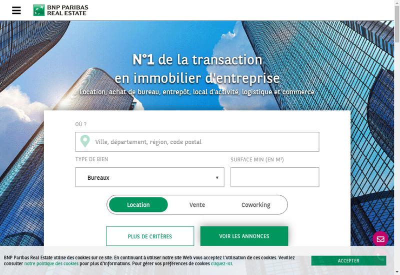 Capture d'écran du site de Bnp Pre Transaction France