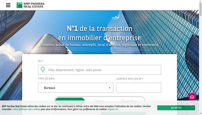 Site internet de Bnp Paribas Real Estate Transaction France