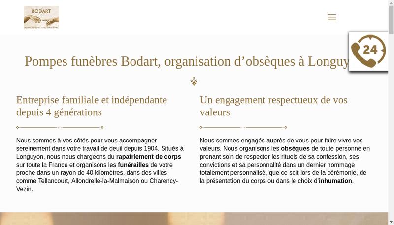 Capture d'écran du site de SARL Bodart