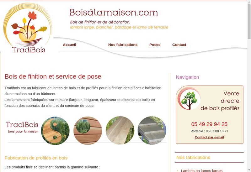 Capture d'écran du site de SARL Tradibois