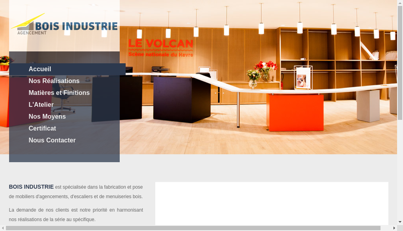 Capture d'écran du site de Bois Industrie