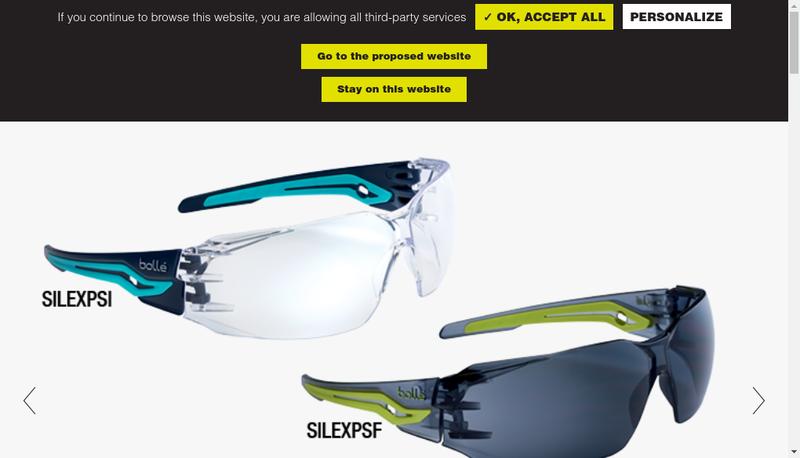Capture d'écran du site de Bolle Safety
