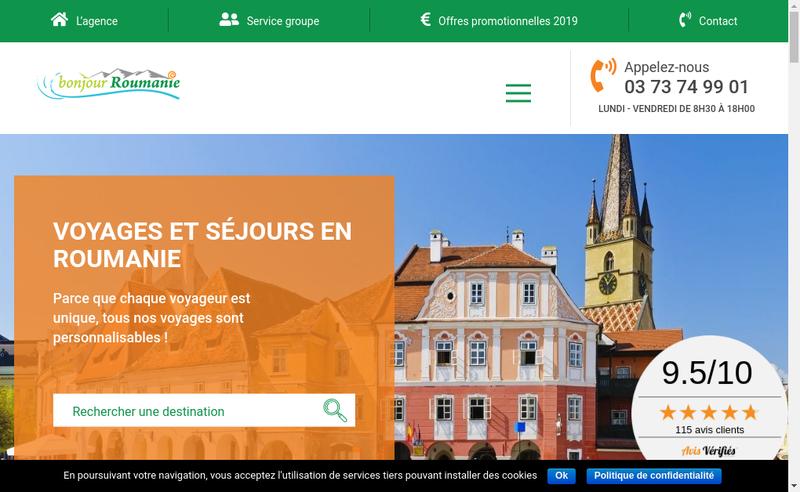 Capture d'écran du site de Bonjour Roumanie