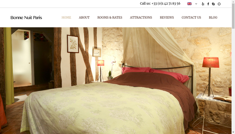 Capture d'écran du site de Bonne Nuit Paris