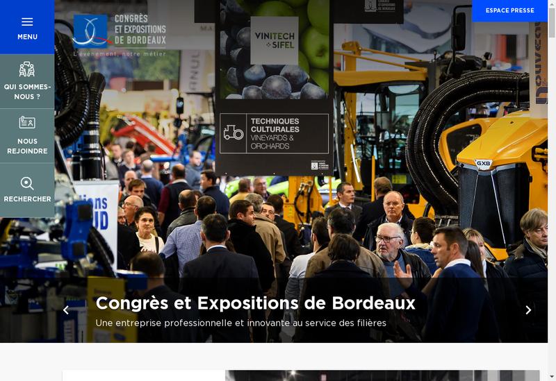 Capture d'écran du site de Congres et Expositions de Bordeaux SAS