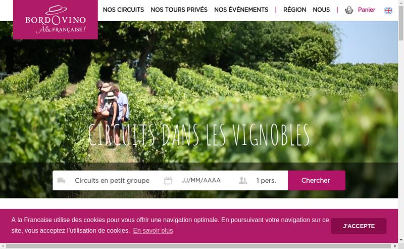 Capture d'écran du site de Bordovino