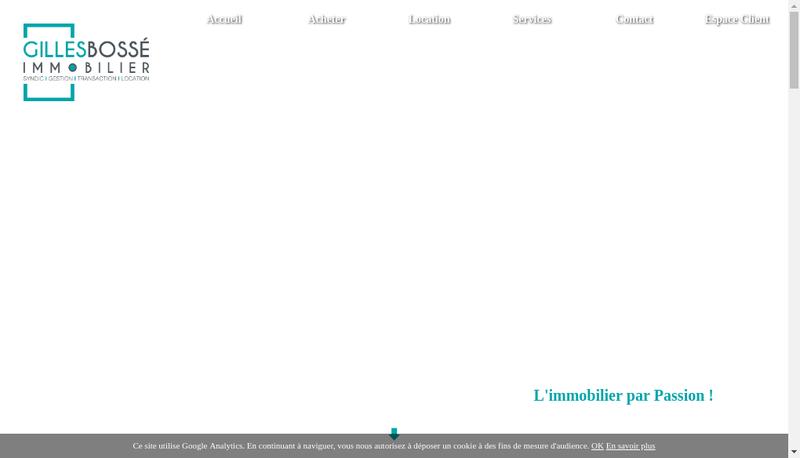 Capture d'écran du site de Gilles Bosse Immobilier