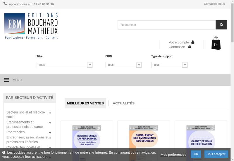Capture d'écran du site de Editions Bouchard Mathieux