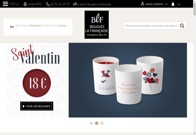 Capture d'écran du site de SA Bougies la Francaise