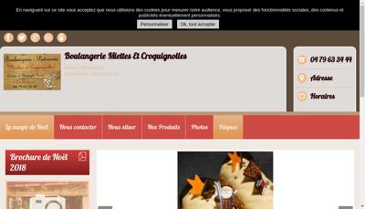 Capture d'écran du site de Boulangerie Miettes et Croquignolle