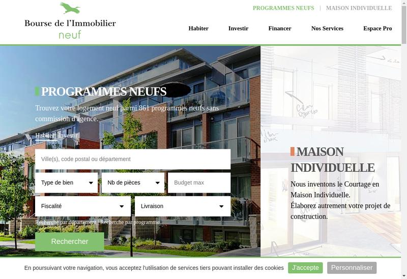 Capture d'écran du site de Bourse de l'Immobilier Neuf