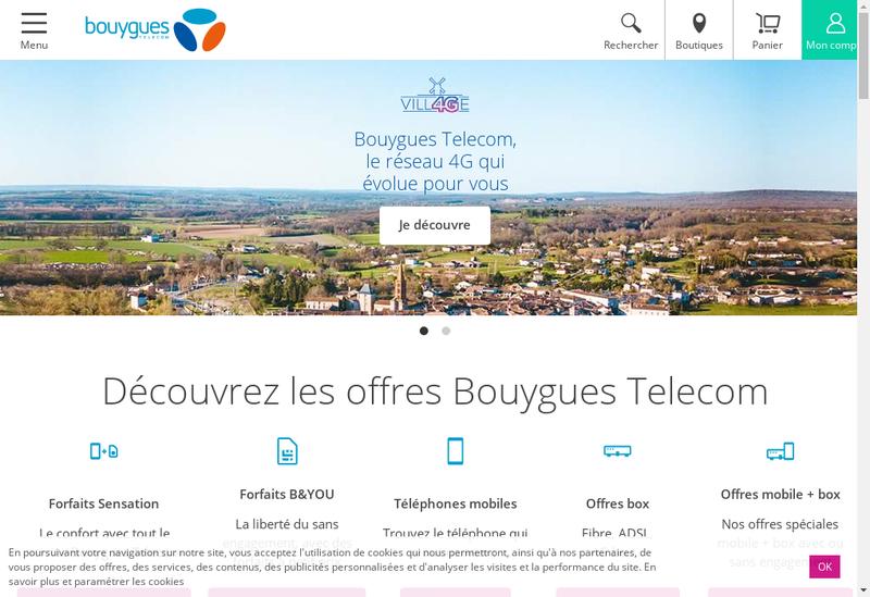 Capture d'écran du site de Bouygues Telecom Entreprises