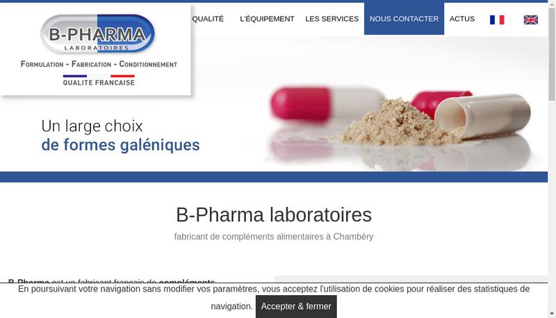 Capture d'écran du site de B Pharma Laboratoires