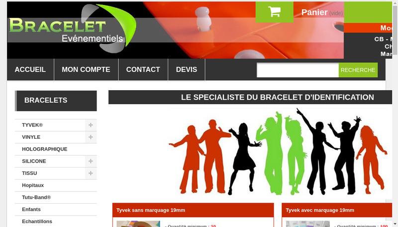 Capture d'écran du site de Bracelets Evenementiels